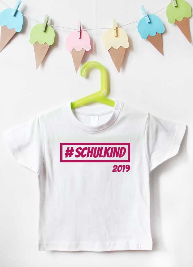T-Shirt Einschulung | Hashtag Schulkind - weiß & pink