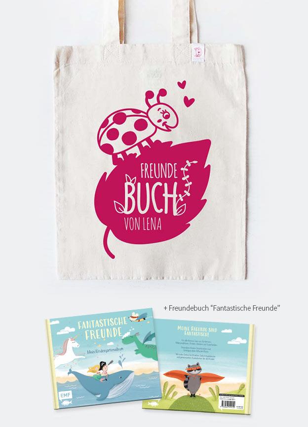 Freundebuch Set | Marienkäfer - beige & pink