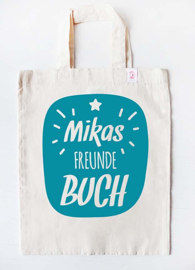 Freundebuch Tasche | Stern - beige & türkis