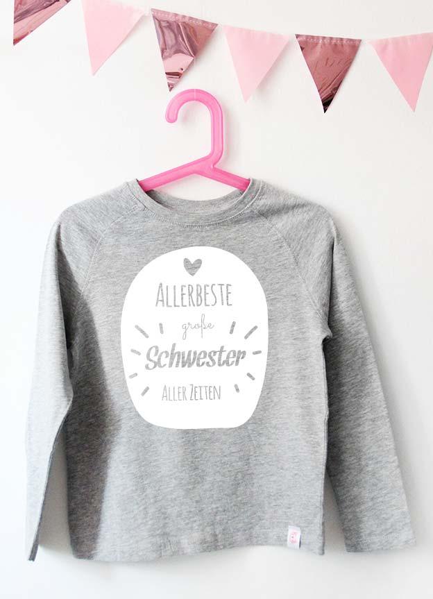 Geschwister Kollektion | Langarmshirt - Allerbeste große Schwester - grau & weiß