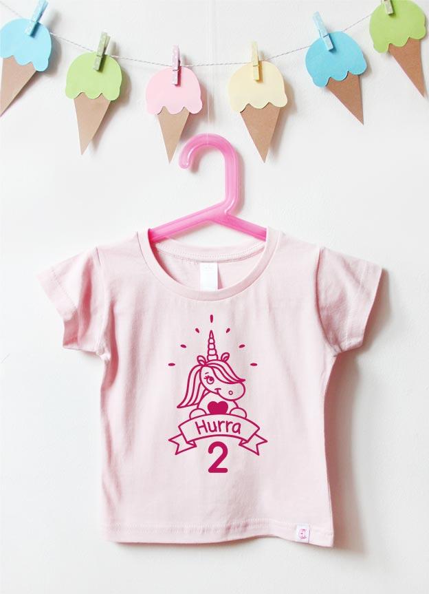 Geburtstagsshirt | Einhorn Hurra 2 Jahre - hellrosa & pink