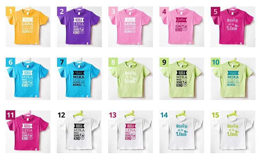 Einschulung T-Shirt - Farbkominationen -nähfein