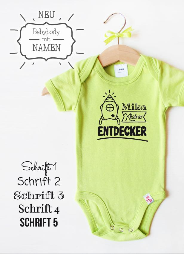 """Babybody grün - Motiv """" Kleiner Entdecker"""""""