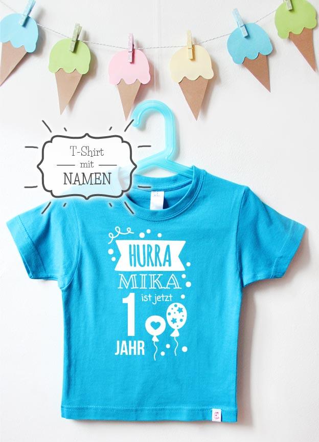 Geburtstagsshirt Namen | Hurra 1 Jahr - türkis & weiß