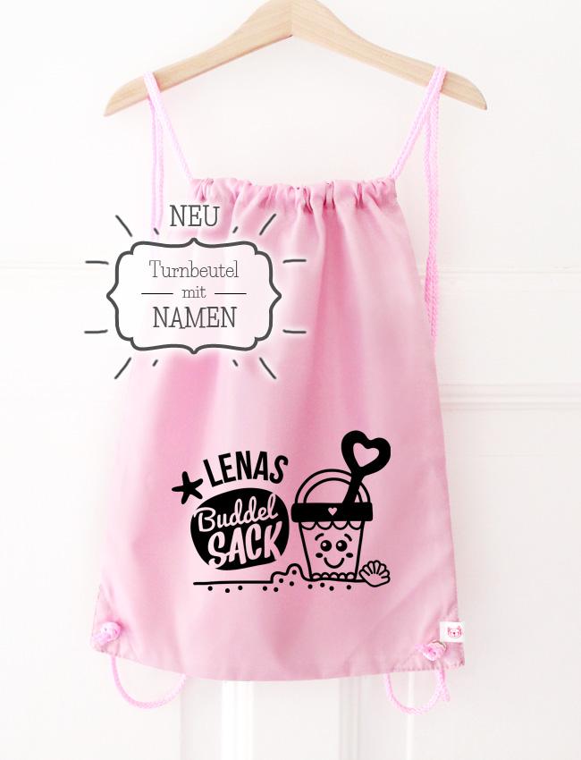 Turnbeutel | Buddelsack mit Namen - rosa & schwarz