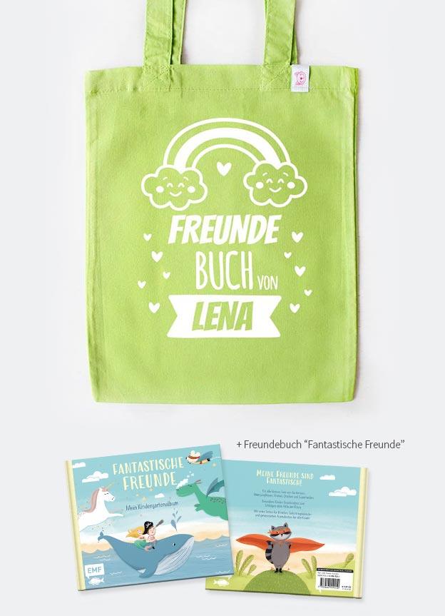 Freundebuch Set | Regenbogen - grün & weiß