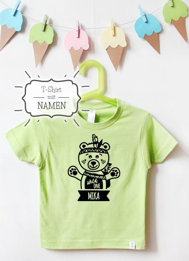 Geburtstagsshirt mit Namen | Wild One Teddy in Grün