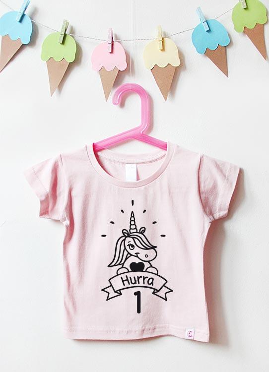 Babyshirt | Einhorn 1 Jahr - hellrosa & schwarz