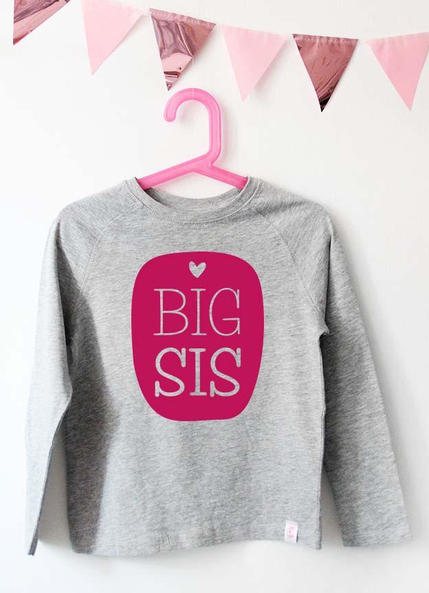Geschwister Kollektion | Langarmshirt - Herz big sis - grau & pink