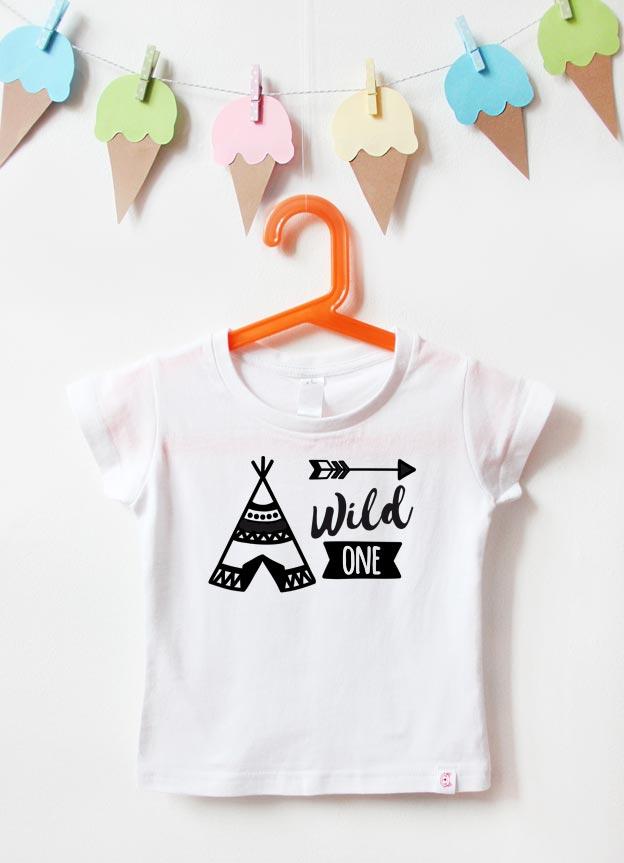 Geburtstagsshirt | wild one tipi - weiß & schwarz