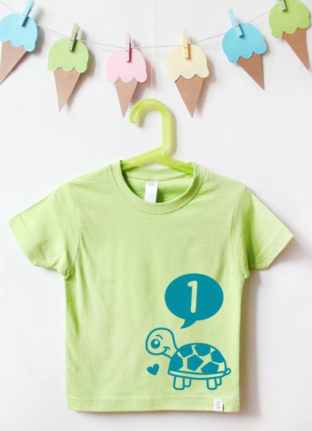 T-Shirt | Schildkröte 1 Jahr - grün & türkis