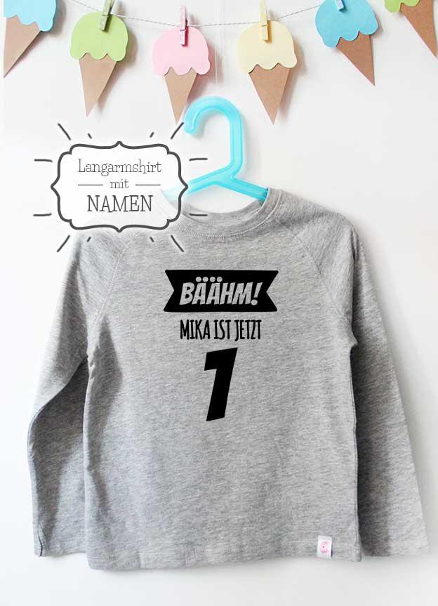 Geburtstag Langarmshirt mit Namen | Bäähm! 1 Jahr - grau & schwarz