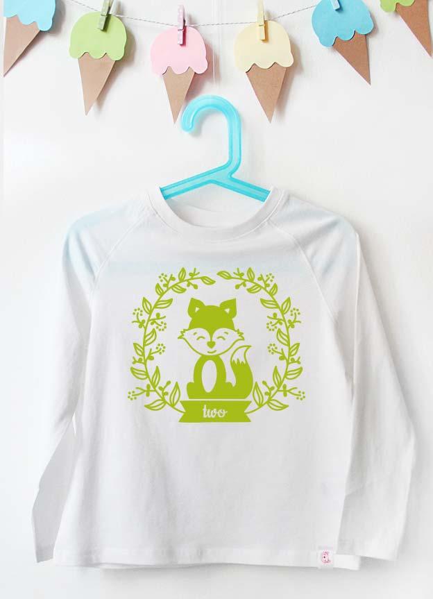 Geburtstag Langarmshirt | Fuchs two  - weiß & grün