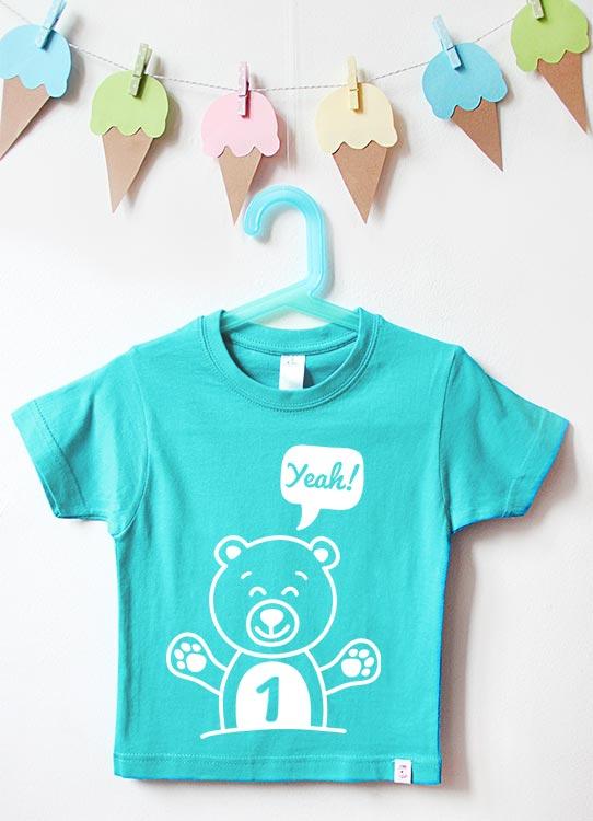 Babyshirt | Teddy 1 Jahr - türkis & weiß