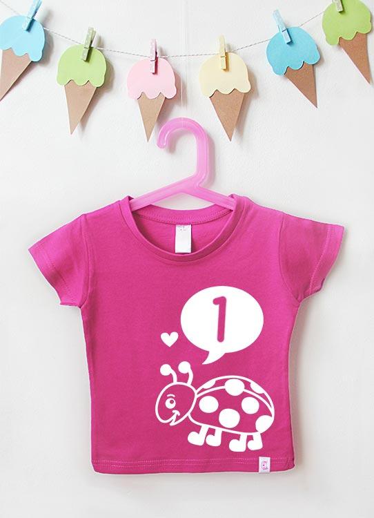Babyshirt | Marienkäfer 1 Jahr - pink & weiß