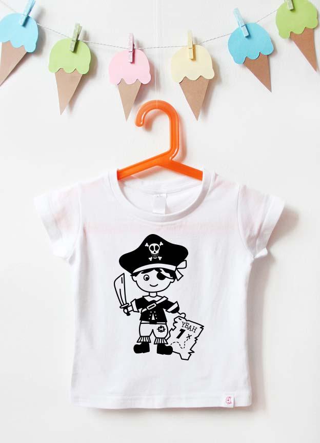 Geburtstagsshirt | Pirat 1 Jahr - weiß & schwarz