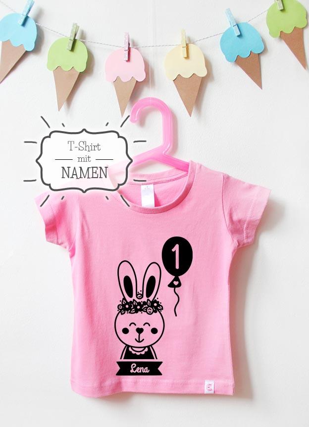 Geburtstagsshirt mit Namen | Hase 1 Jahr - rosa & schwarz