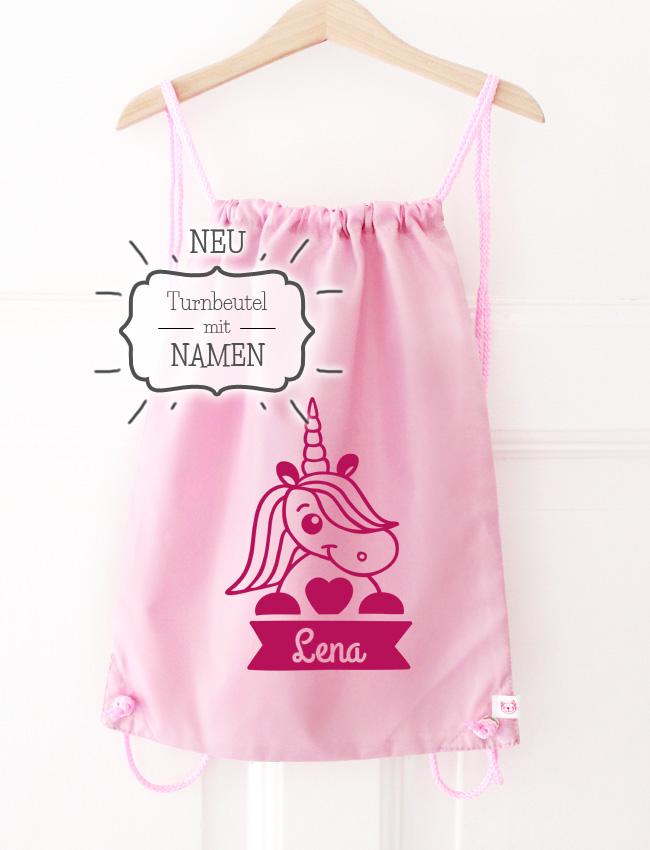Turnbeutel | Einhorn mit Name - rosa & pink