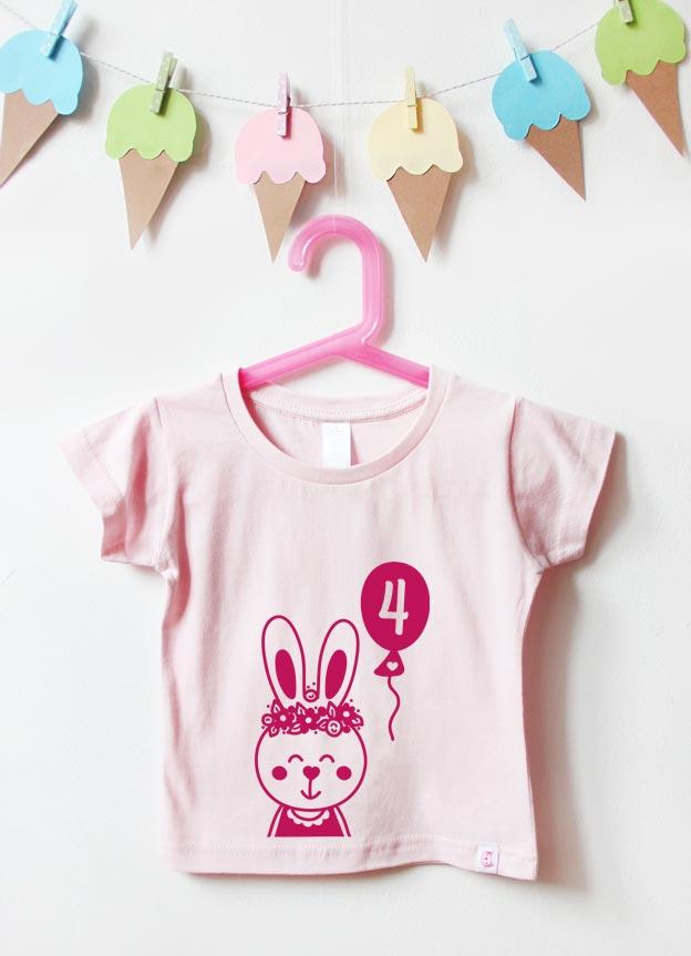Geburtstagsshirt | Hase 4 Jahre - hellrosa & pink