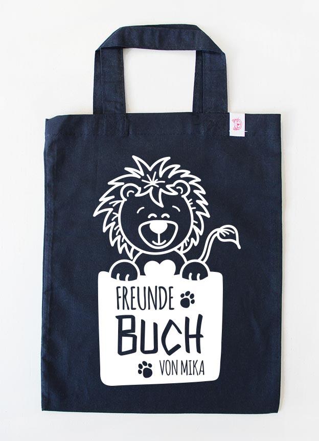 Freundebuch Tasche | Löwe - dunkelblau & weiß