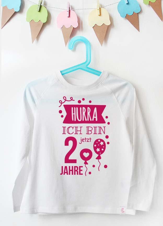 Geburtstag Langarmshirt | Hurra 2 Jahre - weiß & pink