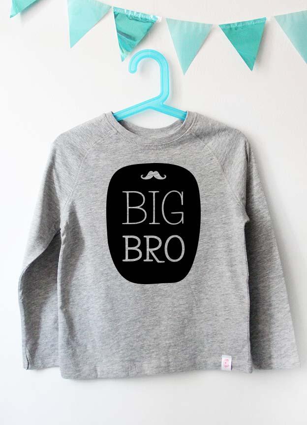 Geschwister Kollektion | Langarmshirt - Bart big bro - grau & schwarz