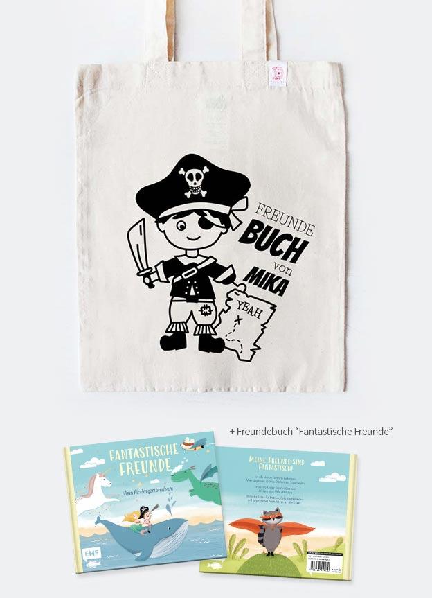 Freundebuch Set | Pirat - beige & schwarz