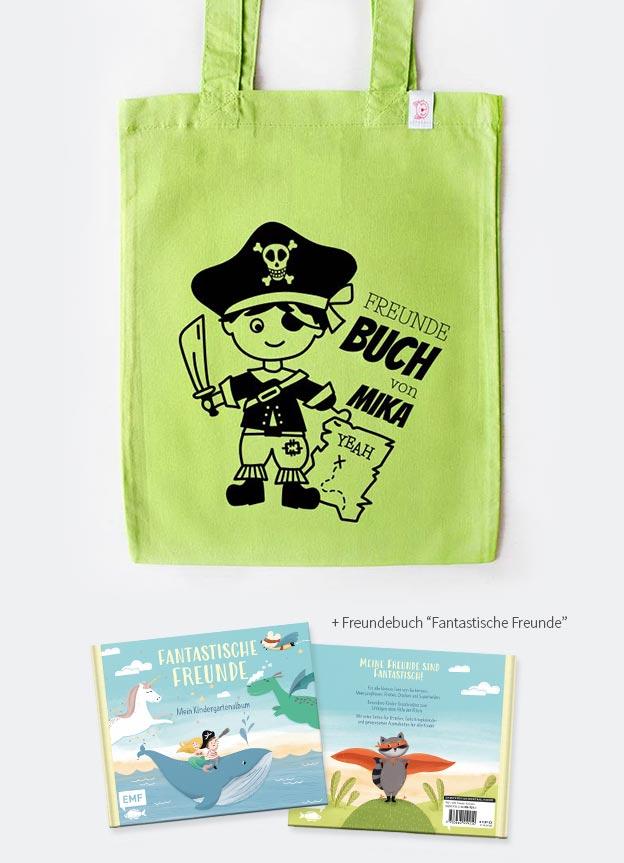 Freundebuch Set | Pirat - grün & schwarz