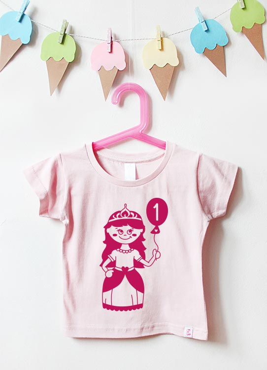 Babyshirt | Prinzessin 1 Jahr - hellrosa & pink