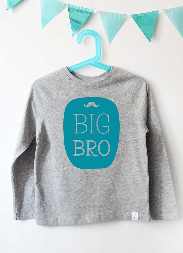 Geschwister Kollektion | Langarmshirt - Bart big bro - grau & türkis