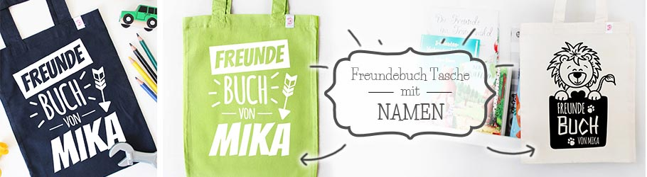 Bunte Freundebuch Taschen mit Namen - nähfein