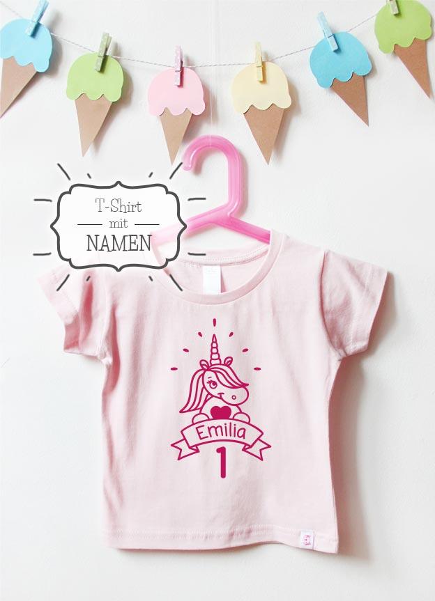 Geburtstagsshirt Namen | Einhorn Hurra 1 Jahr - hellrosa & pink