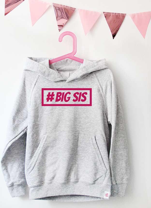 Geschwister Kollektion | Hoodie - Hashtag big sis - grau & pink