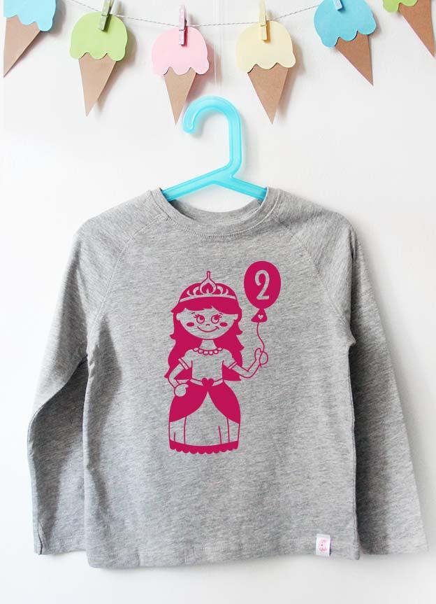 Geburtstag Langarmshirt | Prinzessin 2 Jahre - grau & pink