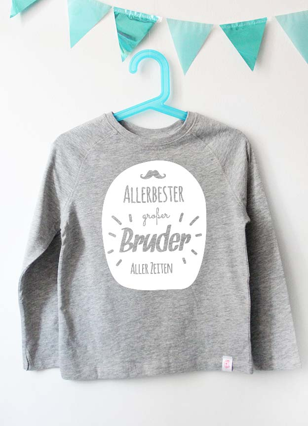 Geschwister Kollektion | Langarmshirt - Allerbester großer Bruder - grau & weiß