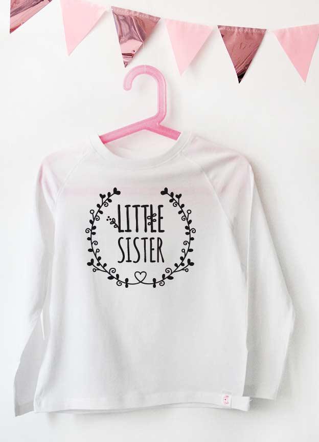 Geschwister Kollektion | Langarmshirt - Blumenranke little sister - weiß & schwarz
