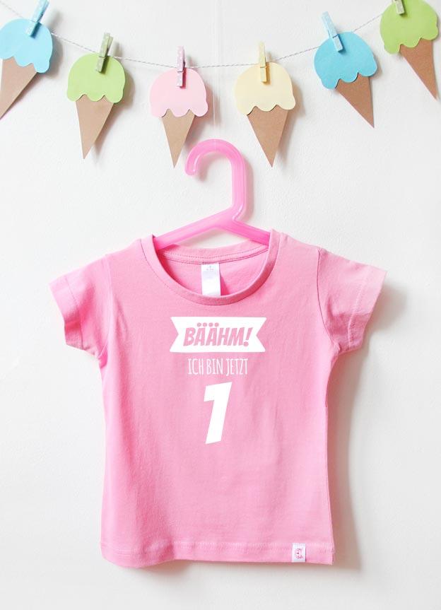 T-Shirt | Bäähm 1 Jahr - rosa & weiß