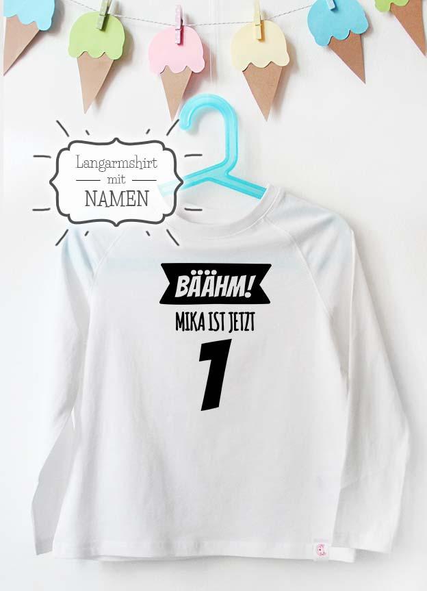 Geburtstag Langarmshirt mit Namen | Bäähm! 1 Jahr - weiß & schwarz