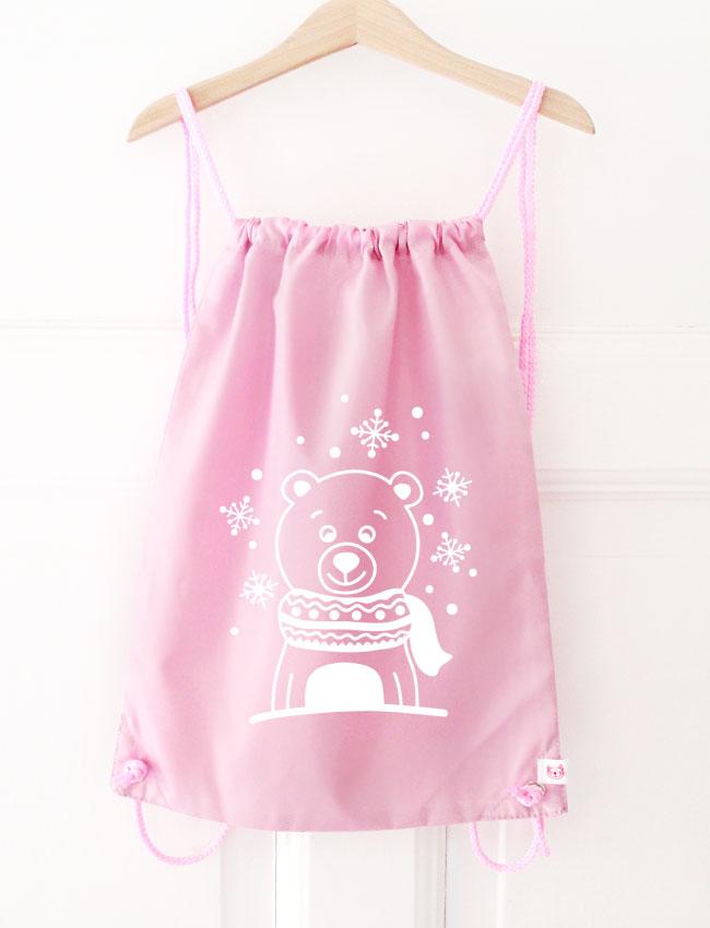 Turnbeutel | Eisbär - rosa & weiß - Wunschfarbe