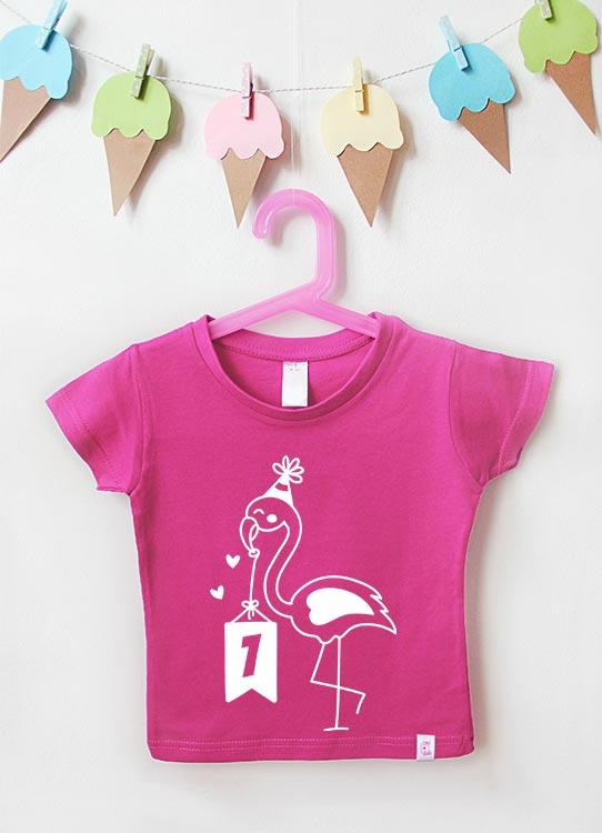 Babyshirt | Flamingo 1 Jahr - pink & weiß