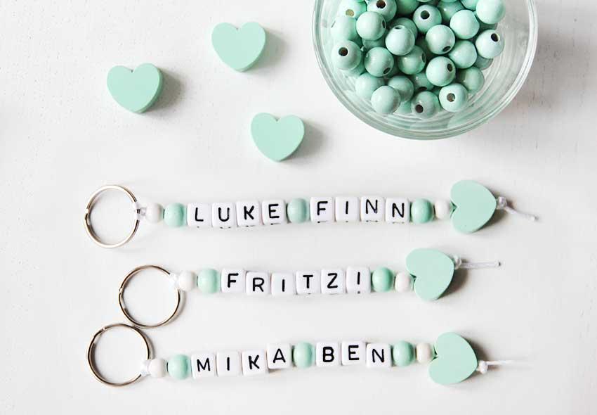 Schlüsselanhänger mit Namen in Mint - nähfein