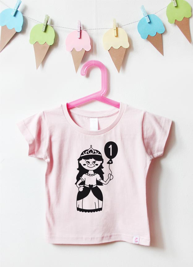 Geburtstagsshirt | Prinzessin 1 Jahr - hellrosa & schwarz