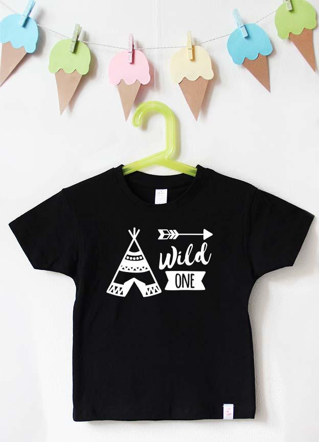 Geburtstagsshirt | wild one tipi - schwarz & weiß