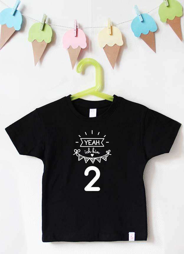 Geburtstagsshirt - Yeah 2 Jahre - schwarz & weiß