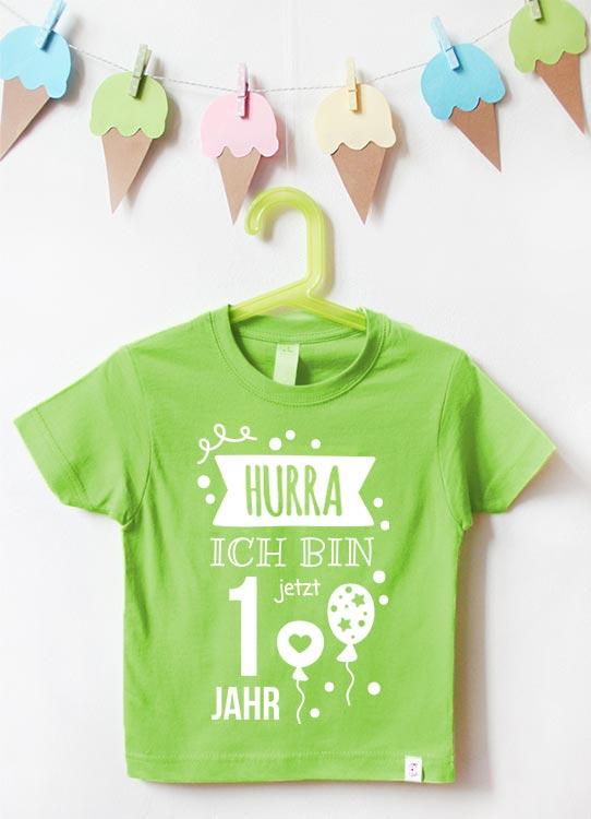 Babyshirt | Hurra 1 Jahr - grün & weiß
