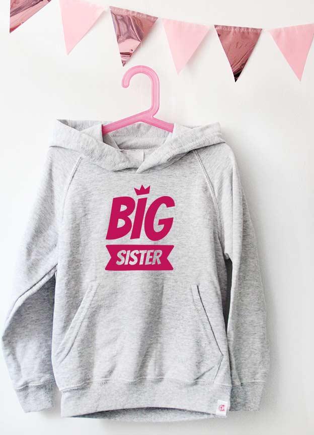 Geschwister Kollektion | Hoodie - Krone big sister - grau & pink