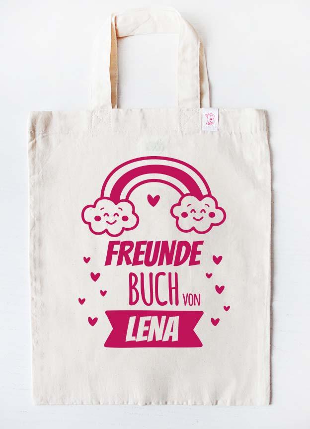 Freundebuch Tasche | Regenbogen - beige & pink