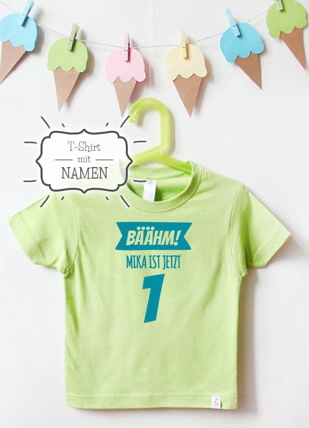 Geburtstagsshirt Namen | Bäähm 1 Jahr - grün & türkis