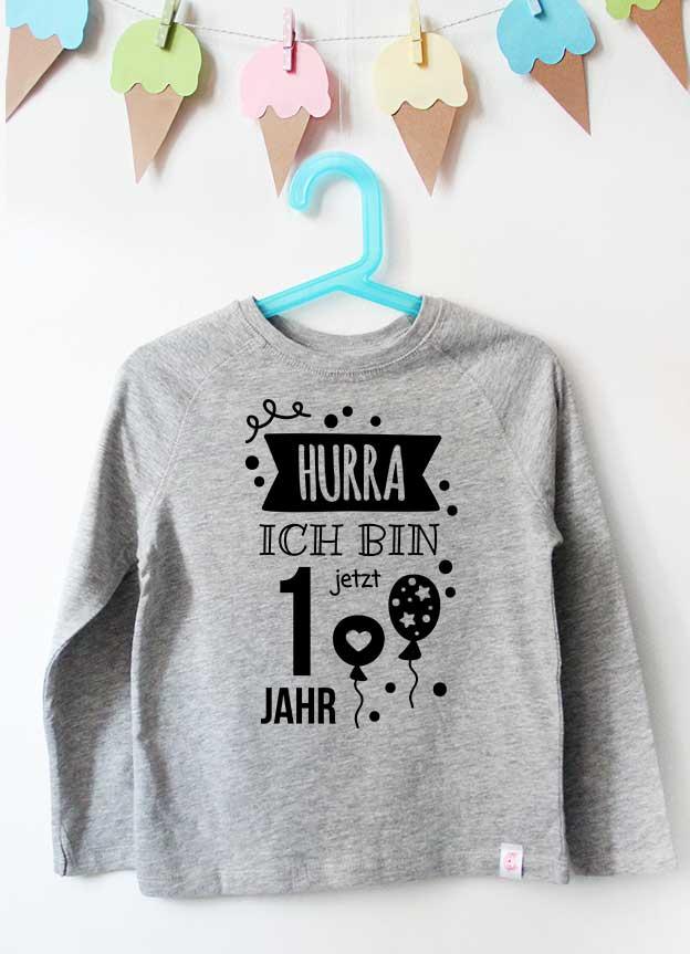 Geburtstag Langarmshirt | Hurra 1 Jahr - grau & schwarz