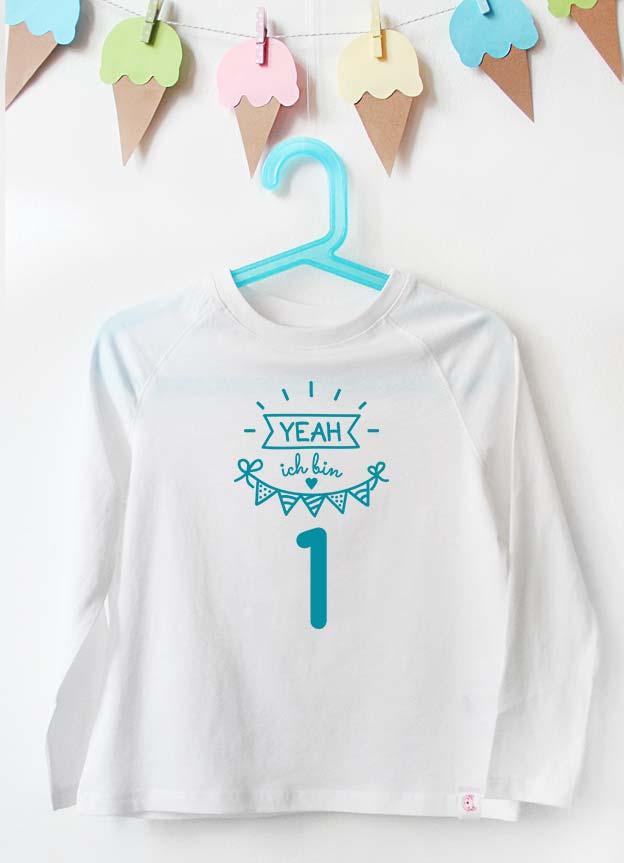 Geburtstag Langarmshirt | Yeah 1 Jahr - weiß & türkis